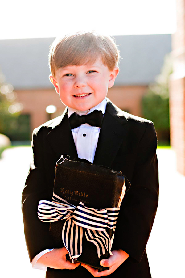Ringbearer carrying Vintage Bible instead of Pillow for wedding at The Mountain Brook Club, Birmingham, Alabama | Photo by Ann Wade Parrish Photography and Arden Photography