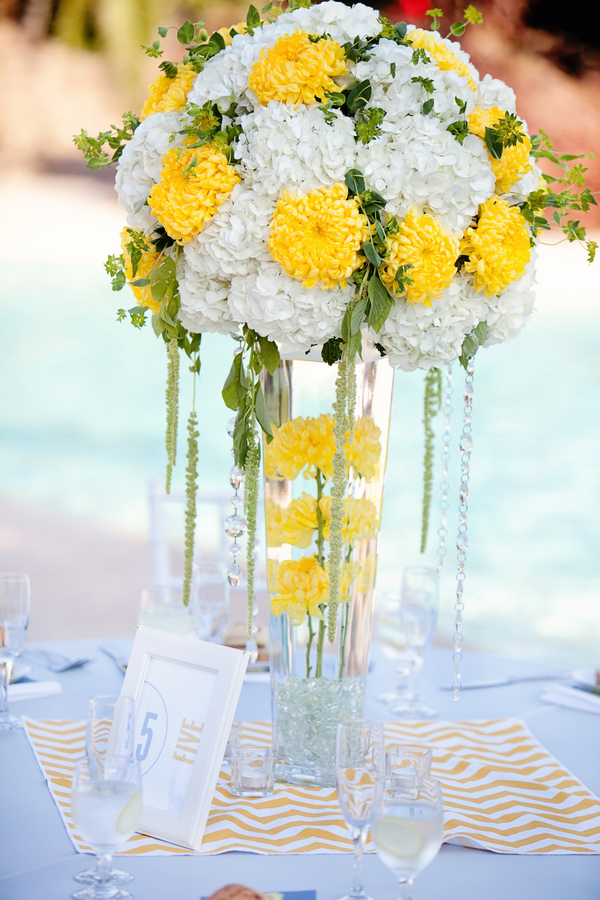 Bright And Sunny White And Yellow Centerpiece Photo By April Smith