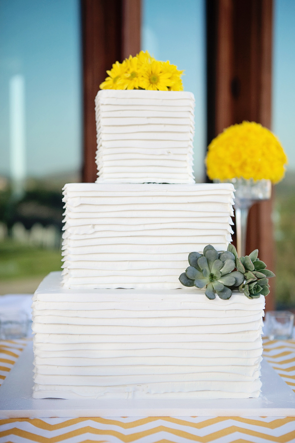 Stunning square 3 tiered wedding cake with yellow flowers and stunning square 3 tiered wedding cake with yellow flowers and succulents photo by mightylinksfo