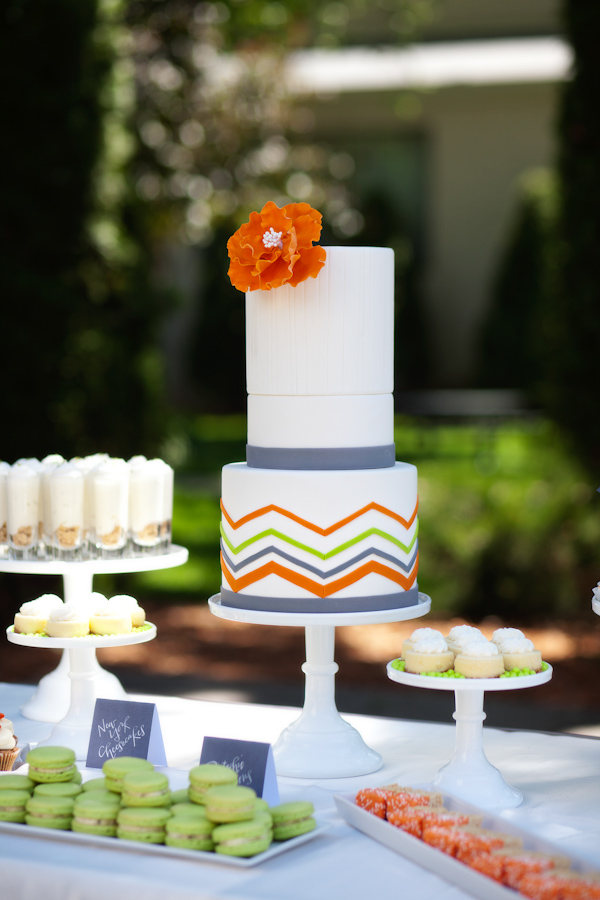 Citrus-inspired wedding cake - Citrus Colored Wedding Decor Photo Shoot by Cadence Cornelius Photographs