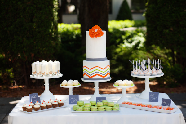 Orange and lime wedding cake and dessert table - Citrus Colored Wedding Decor Photo Shoot by Cadence Cornelius Photographs