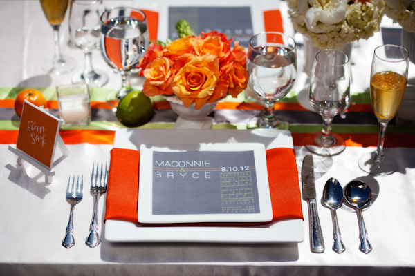 Orange, gray and lime wedding reception table decor - Citrus Colored Wedding Decor Photo Shoot by Cadence Cornelius Photographs