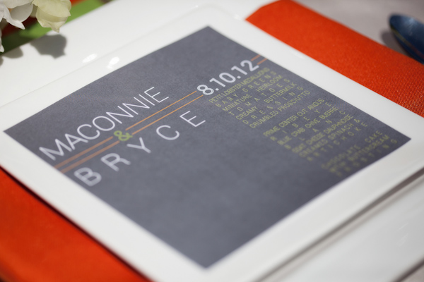 Gray, orange and lime wedding menu - Citrus Colored Wedding Decor Photo Shoot by Cadence Cornelius Photographs