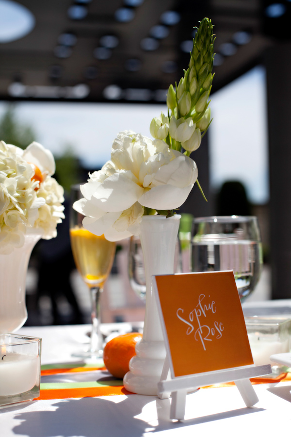 Citrus-inspired nametags for tables at wedding reception - Citrus Colored Wedding Decor Photo Shoot by Cadence Cornelius Photographs