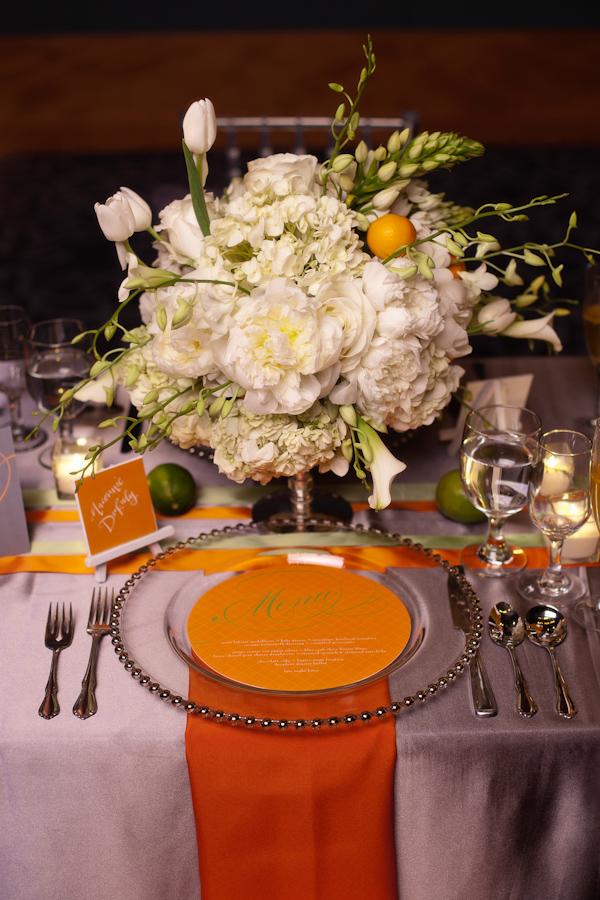 Orange And White Wedding Reception Seating Arrangement Citrus