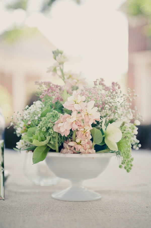 Pink, green, and white vintage-style floral wedding centerpiece - Wedding Photo by Elizabeth Davis