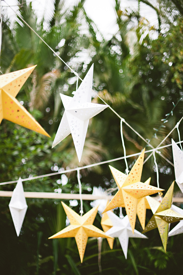 Hanging Yellow And White Star Decor For Mexico Destination Wedding