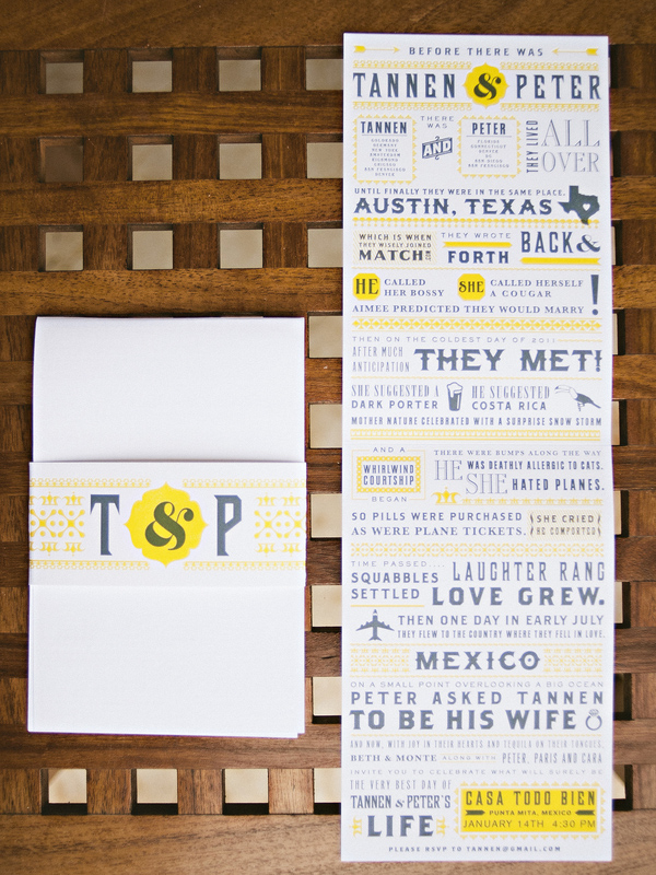Bright and playful gray and yellow wedding invitations for Mexico destination wedding - Photo by Jillian Mitchell
