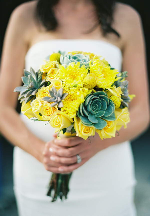 Cheerful bright yellow and sage green bridal bouquet - Photo by Jillian Mitchell