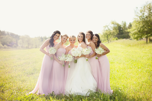 Portrait of bridesmaids in pale pink dresses with the bride - Photo by The Schultzes