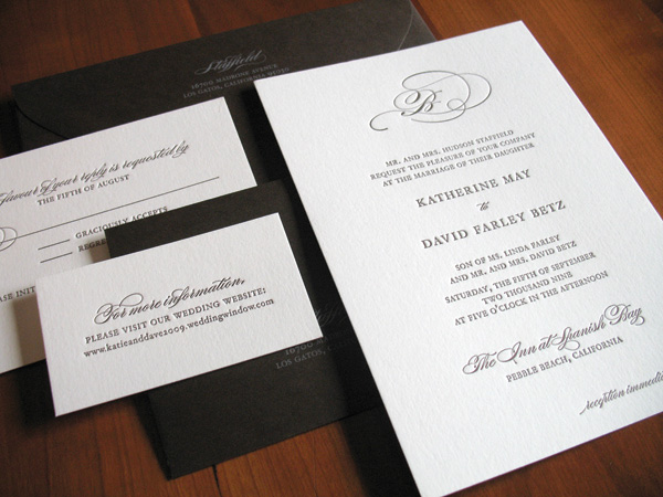 dark brown and white wedding invitation suite with classic design - photo of wedding invitations designed by Brown Sugar Designs