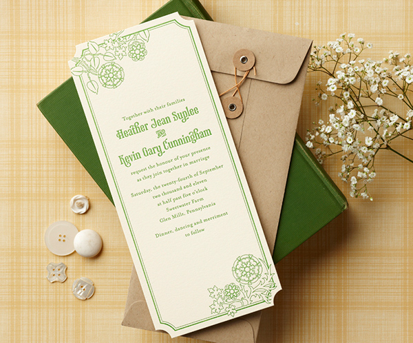Green and ivory rectangular wedding invitation by Curious & Company Invitations