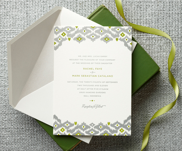 Gray and olive green wedding invitation featuring diamond design by Curious & Company Invitations