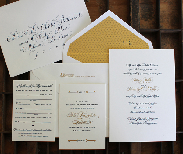 Elegant black, white and gold wedding invitation by Curious & Company Invitations
