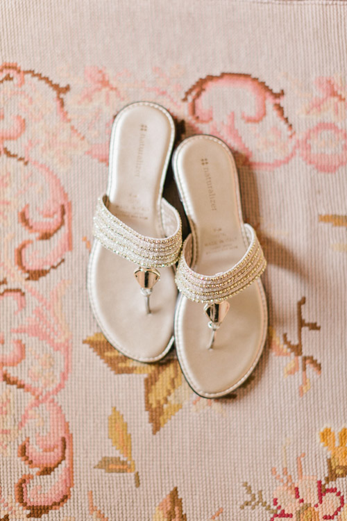 Casual and chic white wedding sandals - Photo by Emily Delamater