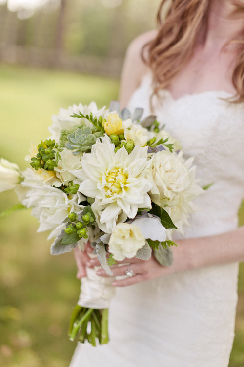 Organic and natural green white and ivory bridal bouquet - Photo by Emily Delamater