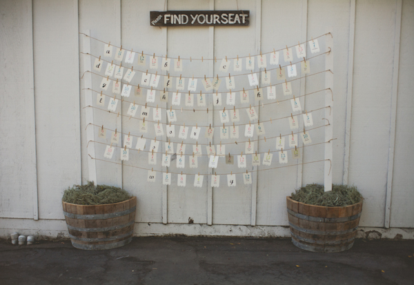 poles with twine hanging provide place cards with vintage sign - warm, sunny, Sonoma California vineyard wedding photo by California wedding photographers EP Love