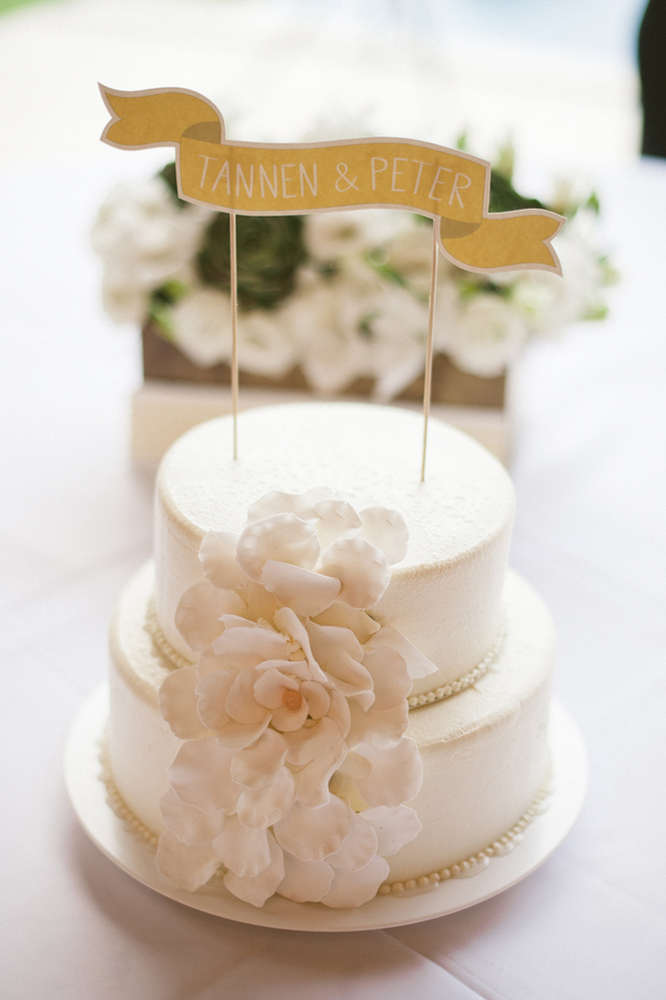 cake topper with couple's name on white wedding cake with floral decor, Photo by Jillian Mitchell Photography