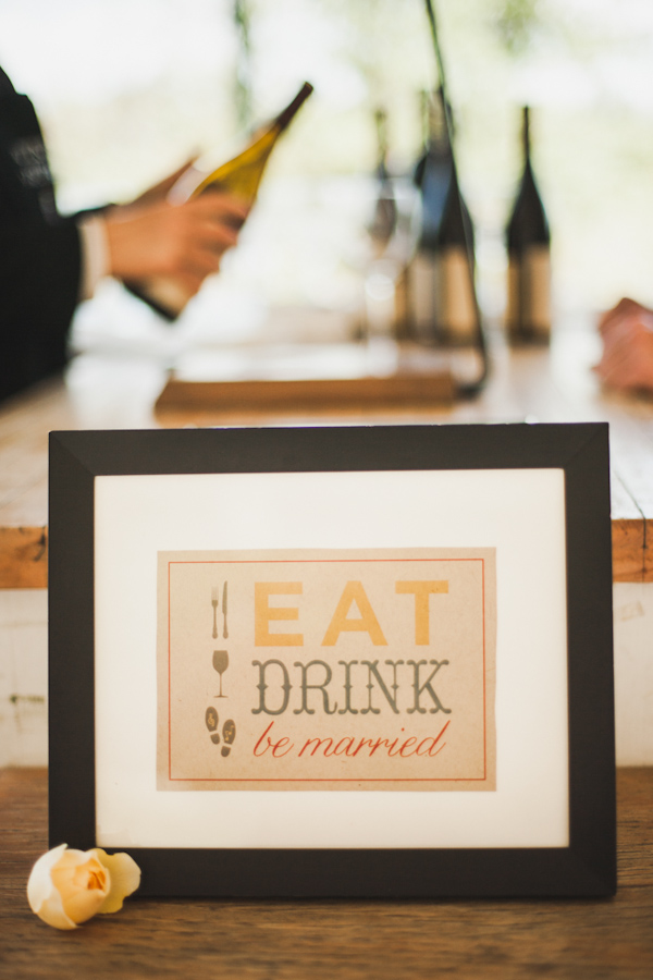 Framed 'Eat, Drink and Be Married' sign - Photo by Michelle Warren Photography