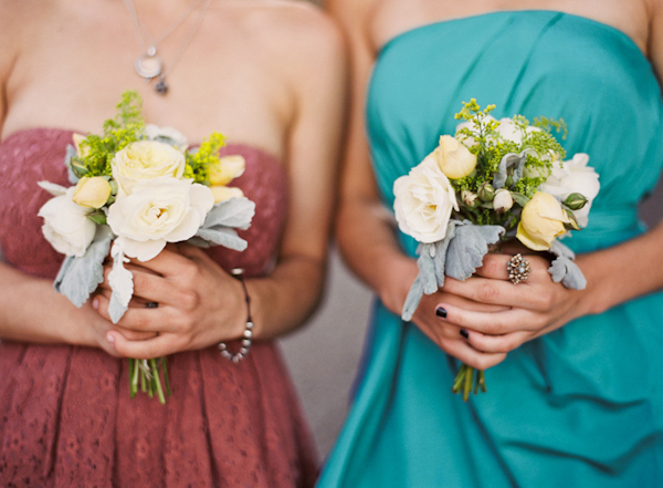 Simple and pretty white and ivory bridesmaid bouquets - Photo by Michelle Warren Photography