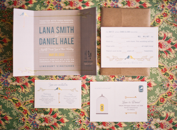 Modern and creative wedding invitation suite featuring bird and birdcage details - Photo by Michelle Warren Photography