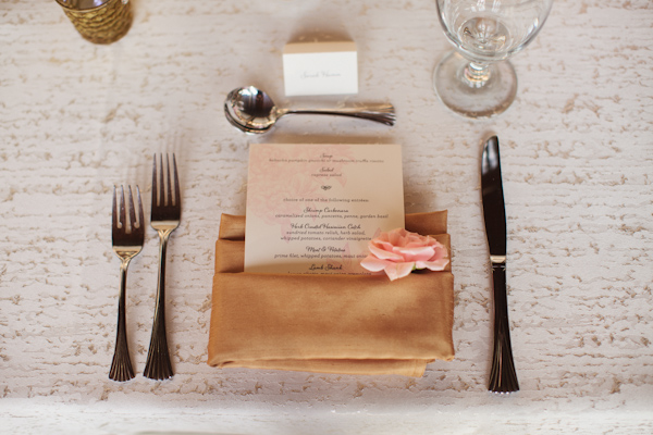 Wedding menu tucked in tan napkin with pink flower detail photo by wedding menu tucked in tan napkin with pink flower detail photo by sara and rocky mightylinksfo