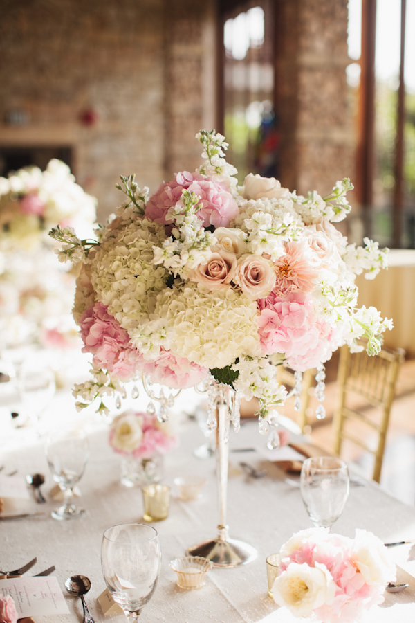 Romantic light pink and white floral centerpiece photo