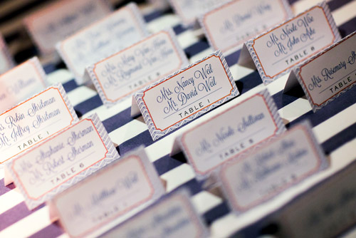 Creative and nautical inspired blue, white and orange place cards - Photo by Sarah Tew Photography