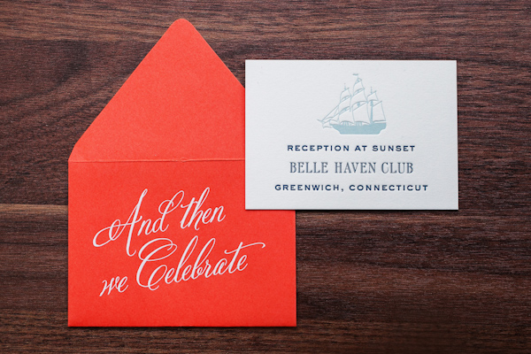 Nautical inspired wedding reception stationery with bright orange envelope - Photo by Sarah Tew Photography