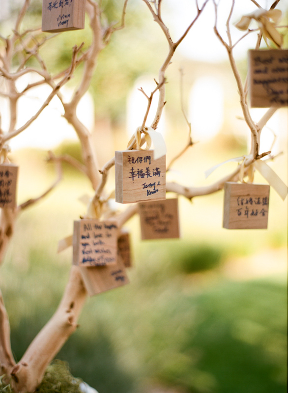 Tree with well wishes from wedding guests to the couple hanging on the branches - Photo by Sylvie Gil Photography