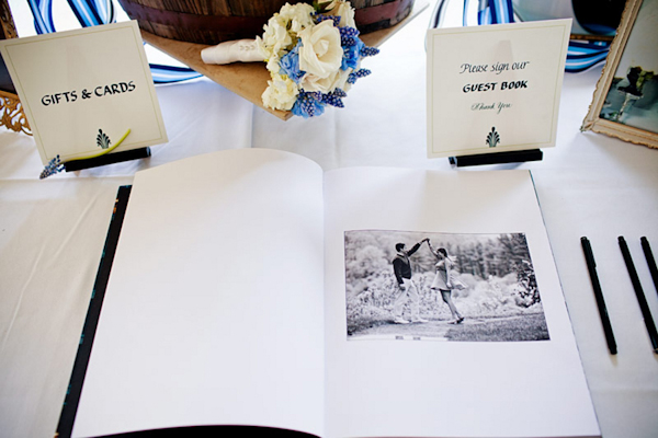 Guestbook with hand written signs and photo of the couple - preppy New York Sagamore resort wedding photo by New York wedding photographer Tracey Buyce