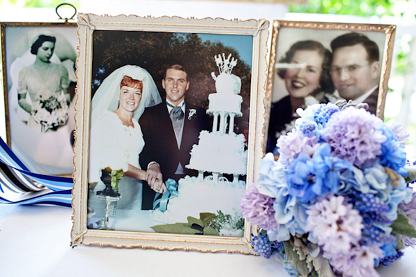 vintage photos of parents and grandparents weddings with blue and lavender flowers - preppy New York Sagamore resort wedding photo by New York wedding photographer Tracey Buyce