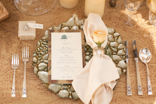Champagne, tan, and brown table setting - wedding decor inspiration shoot - wedding invitation designed by Zenadia Designs