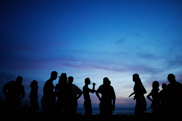 guests mingle as the sun goes down during the wedding reception - photo by Dallas based destination wedding photographer Poser