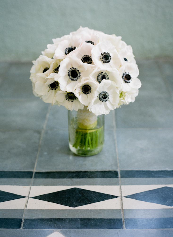 Stunning white flowers with black center bridal bouquet - wedding ...