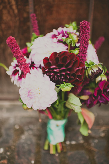 Beautiful and dramatic bouquet with magenta and light pink flowers - Photo by Ryan Flynn Photography