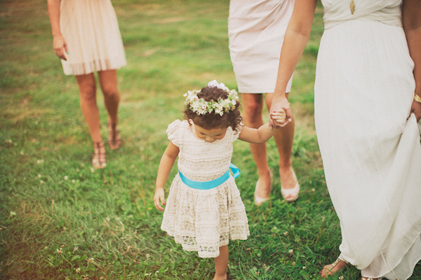 Cute little girl at wedding in lace dress and flower crown - Photo by Ryan Flynn Photography