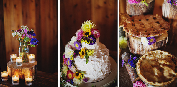 Rustic wedding cake and desserts with wildflower details - Photos by Ryan Flynn Photography
