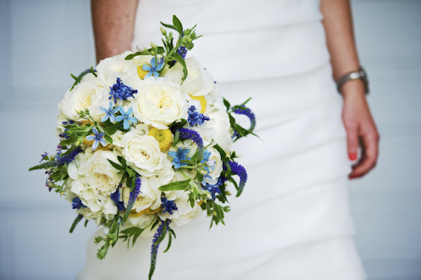 blue and ivory bridal bouquet - wedding photo by top Atlanta-based wedding photographer Scott Hopkins Photography