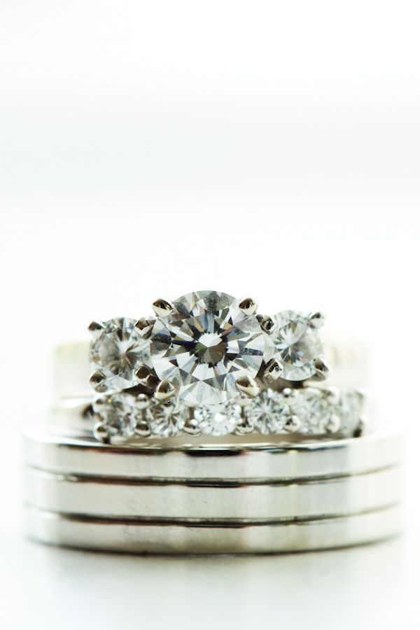 Sparkling diamond stacked wedding rings - photo by top Atlanta-based wedding photographer Scott Hopkins Photography