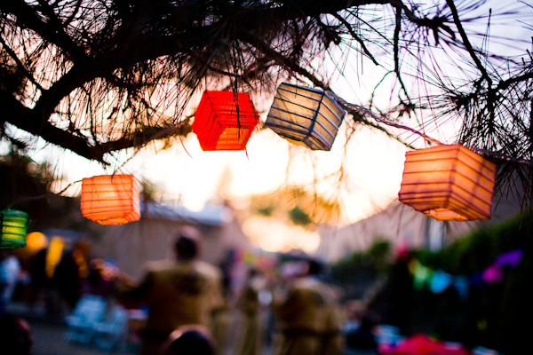 Fun Colorful Chinese Paper Lanterns Hanging From Trees At The