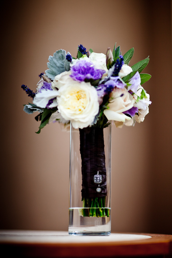Ivory White Purple And Green Bouquet Wrapped With Dark Purple