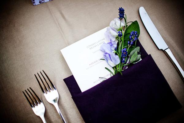 Reception Decor Details Dark Purple Napkin Folded With Ivory Menu