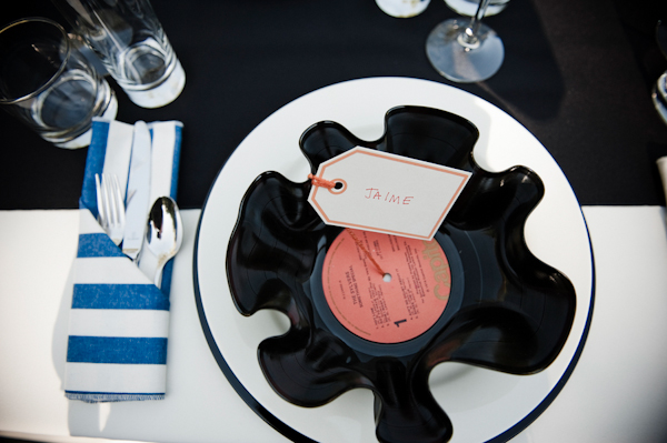place setting with a homemade record bowl and blue striped napkins - music inspired DIY wedding - photos by top Orange County, CA wedding photographers Viera Photographics