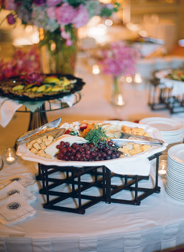 buffet line of cheese and fruit - sweet southern military style wedding photo by Charleston wedding photographer Virgil Bunao
