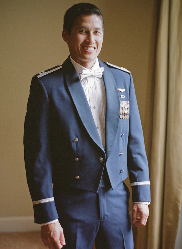 groom stands in military air force dress - sweet southern military style wedding photo by Charleston wedding photographer Virgil Bunao