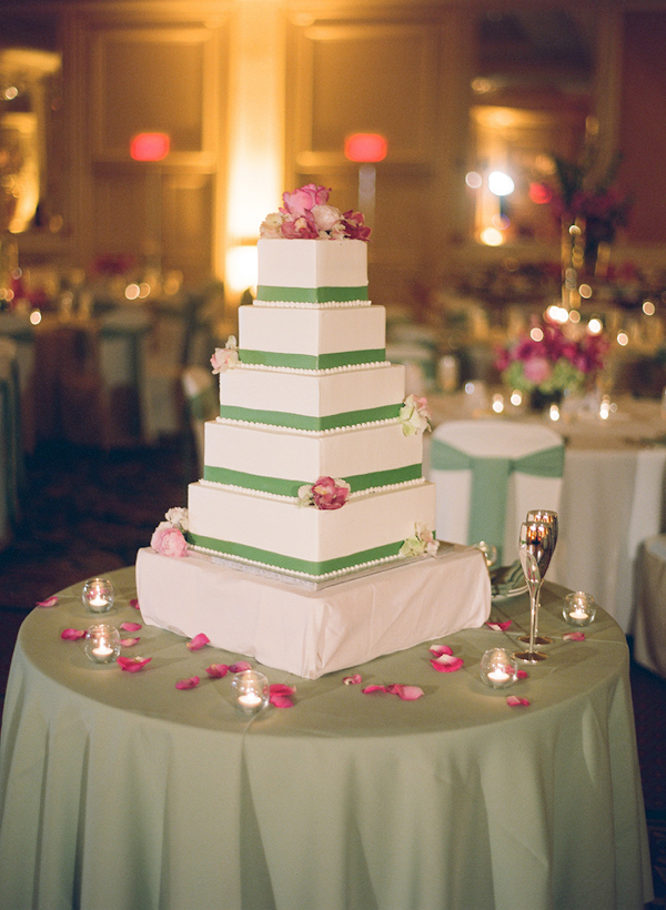 square tiered cake with green ribbon and pink floral details - sweet southern military style wedding photo by Charleston wedding photographer Virgil Bunao