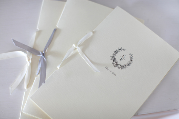 Wedding invitations with white and blue ribbon - Wedding Photo by Whitebox Weddings