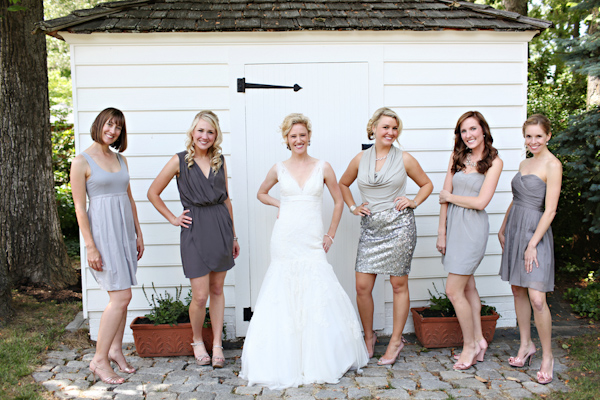 Bridesmaids in gray, metallic, cocktail dresses  - Wedding Photo by Whitebox Weddings