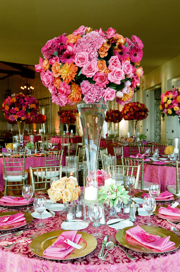 Pink and orange wedding centerpiece and tabletop photo by yvette pink and orange wedding centerpiece and tabletop photo by yvette roman photography mightylinksfo